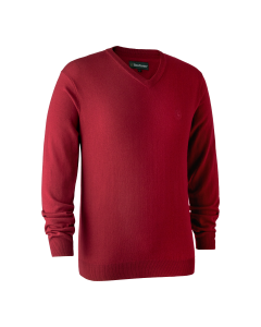 Deerhunter Kingston Striktrøje med V-hals Red