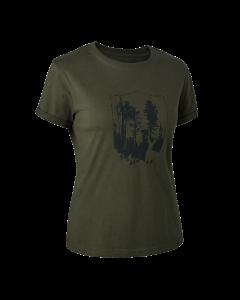 Deerhunter Lady T-shirt med Deerhunter skjold Bark Green