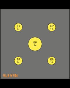 Eleven skive 125 x 125 x 22 cm med Eazy pull center